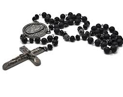 black necklace with crystal images Black rosary 8mm beads crystal pave cross hip hop chain men jpg