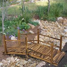 Patio Pond by Wooden Bridge 5 U0027 Stained Finish Decorative Solid Wood Garden Pond