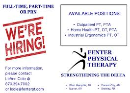 therapy openings openings fenter physical therapy in ar career news
