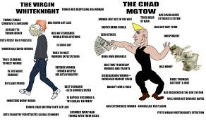 White Knight Meme - virgin white knight vs chad mgtow virginvschad