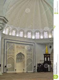 the beautiful interior design of wilayah mosque royalty free stock