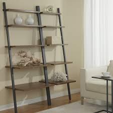 Ladder Bookcase Black by Decorating Wall Leaning Bookshelf Dark Wood Bookshelf Leaning
