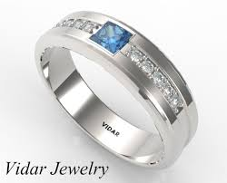 blue diamond wedding rings mens wedding ring with blue diamonds princess cut blue diamond