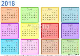 Kalender 2018 Free Kalender 2018 Jeder Monat In Einem Andersfarbigen Quadrat Und Mit