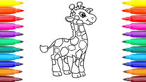 giraffe coloring pages draw colored markers
