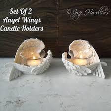 memorial tea light candle holder set of 2 angel wings tea light candle holder feathered wings