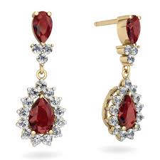 garnet earrings garnet and garnet halo pear dangle earrings e1882 ygrgr