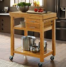 bamboo kitchen island amazon com clevr rolling bamboo kitchen island cart trolley on