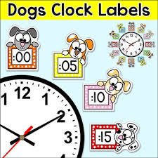 theme clock telling time clock labels puppy dog theme classroom decor by