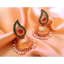 gold jhumka earrings green gold jhumka earrings with pearls