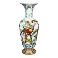 Francois Vase Distinguished Baccarat Opaline Crystal Vases Decorated With Birds