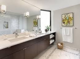 Design Ideas For Brushed Nickel Bathroom Mirror with Ideas For Picture Gallery Modern Bathroom With Wall Mirror