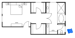 Master Bedroom Floor Plan With The Entrance Straight Into The - Master bathroom design plans