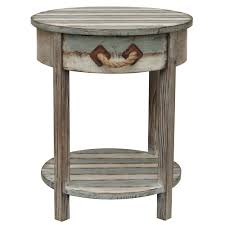 nantucket round weathered wood accent side end table distressed