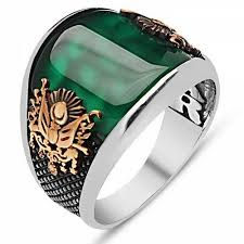 mens stone rings images Turkish ottoman emerald agate stone 925 k sterling silver mens jpg