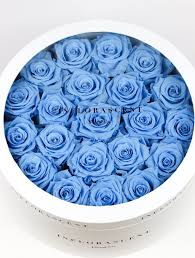 white and blue roses infinity ring with sky blue roses