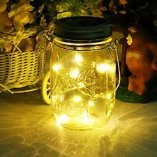 mason jar outdoor lights amazon com solar mason jar light led glass outdoor hanging