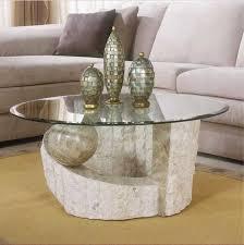 glastische wohnzimmer couchtisch glas rund schöne runde glastische mit stein auf bein