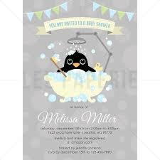 penguin baby shower bsb016 penguin baby shower invitation boy penguin in bathtub