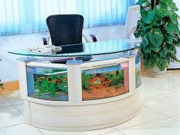 modern glasses table on the grey floor aquarium design with white