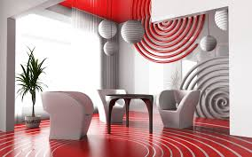 modern living room interior design red and white color combination