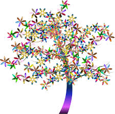 clipart colorful floral tree