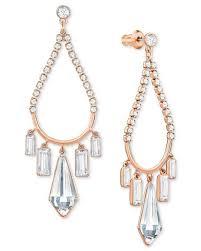 Rose Gold Chandelier Earrings Swarovski Rose Gold Tone Crystal Chandelier Earrings In Metallic