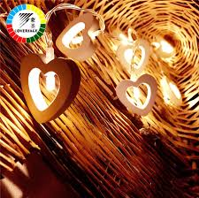 Indoor Curtain Fairy Lights Coversage 10 Wooden Heart Led Battery Christmas Tree Garland