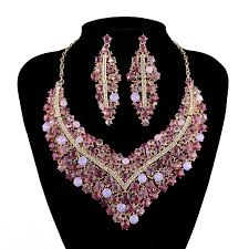 rhinestone statement necklace images Rhinestone statement necklace sets pink color combination women jpg