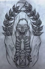 black outline grim reaper skeleton design