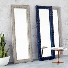 upholstered floor mirror dove gray velvet west elm