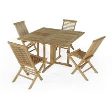 table et 4 chaises salon de jardin en teck ecograde papeete table pliante carrée 120 x