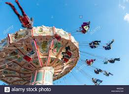 flying chairs or merry go fairground ride at goose fair