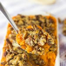 vegan sweet potato casserole with maple pecan topping in