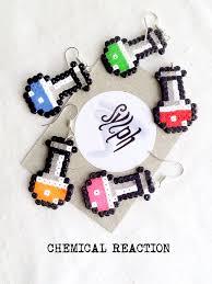 chemist earrings pixelated chemical reaction earrings in 8bit retro style