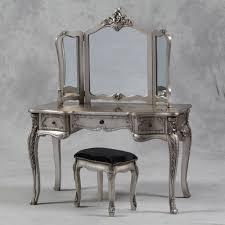 Makeup Tables Large Antique Silver Leaf Dressing Table 3 Fold Mirror Set