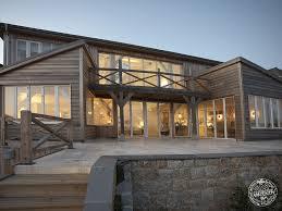 douglas fir timber framed multi level new build house