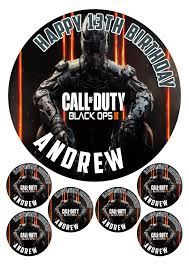 call of duty cake topper personalised call of duty black ops 7 5 6 x 2 edible