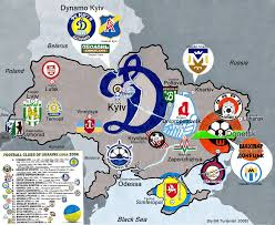 russia football map ukrainian football clubs map circa 2003