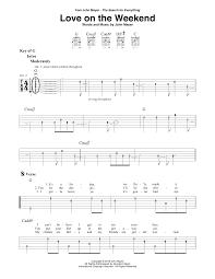 love on the weekend sheet music by john mayer guitar lead sheet