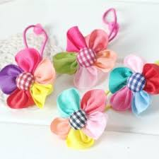 baby barrettes colored flowers children baby hair accessories rubber bands