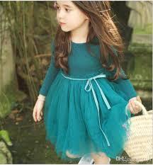 2017 new autumn lace dress for girls korean long sleeve tutu kids