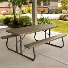 lifetime 6 folding outdoor picnic table brown 60110 lifetime 6 picnic table brown walmart com