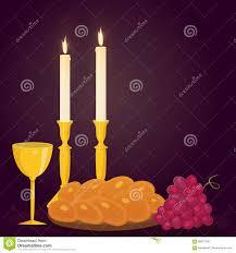 shabat candles shabbat candles kiddush cup and challah stock vector image