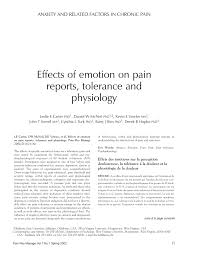 effects of emotion on pain reports tolerance and physiology pdf