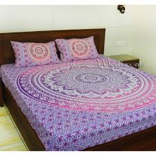 purple old ombre mandala boho hippie bedding bedspread with pillow