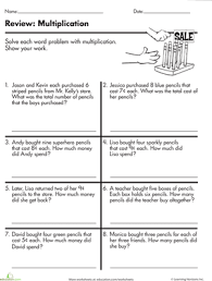 at the store multiplication word problems worksheet education com