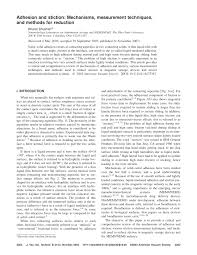 adhesion and stiction mechanisms measurement techniques and