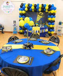 Batman Table Decorations Batman Birthday Party Bought A Plastic Table Cloth And Cut Out