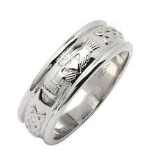 silver wedding band silver wedding ring claddagh corrib wide fado jewelry